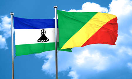 congo: Lesotho flag with congo flag, 3D rendering Stock Photo