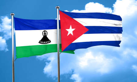 lesotho: Lesotho flag with cuba flag, 3D rendering