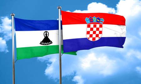 bandera croacia: bandera de Lesotho con la bandera de Croacia, 3D