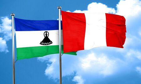 bandera de peru: bandera de Lesotho con la bandera de Perú, 3D