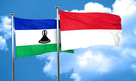 lesotho: Lesotho flag with Indonesia flag, 3D rendering