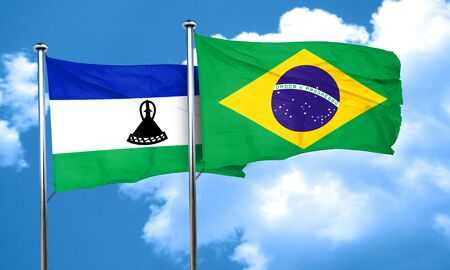 lesotho: Lesotho flag with Brazil flag, 3D rendering Stock Photo