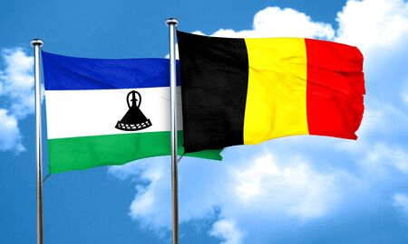 lesotho: Lesotho flag with Belgium flag, 3D rendering