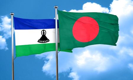 lesotho: Lesotho flag with Bangladesh flag, 3D rendering