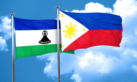 lesotho: Lesotho flag with Philippines flag, 3D rendering Stock Photo