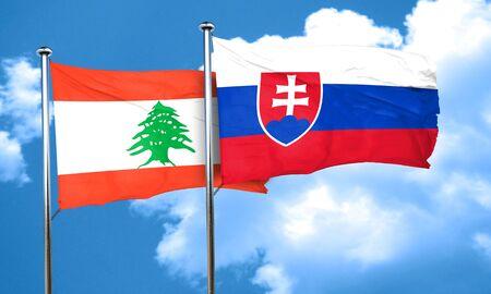 lebanon: Lebanon flag with Slovakia flag, 3D rendering