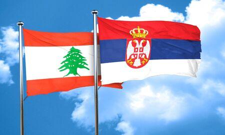 serbia flag: Lebanon flag with Serbia flag, 3D rendering Stock Photo