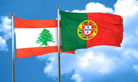 drapeau portugal: drapeau du Liban avec le Portugal drapeau, rendu 3D