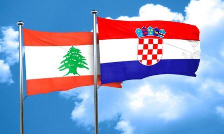 bandera croacia: bandera de Líbano con la bandera de Croacia, 3D