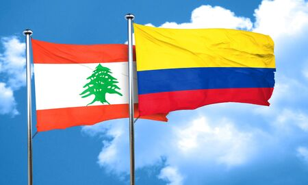 colombia flag: Lebanon flag with Colombia flag, 3D rendering Stock Photo