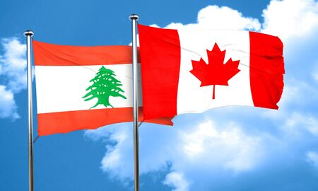 canadian state flag: Lebanon flag with Canada flag, 3D rendering Stock Photo
