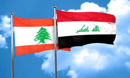 iraq flag: Lebanon flag with Iraq flag, 3D rendering