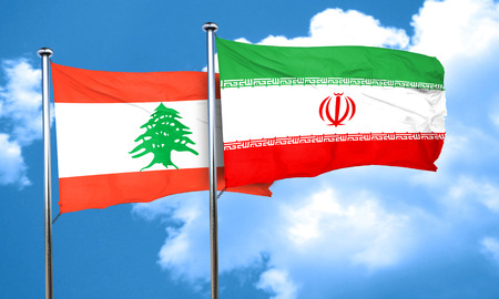 iran: Lebanon flag with Iran flag, 3D rendering