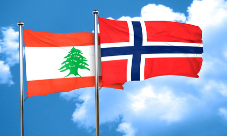 norway flag: Lebanon flag with Norway flag, 3D rendering