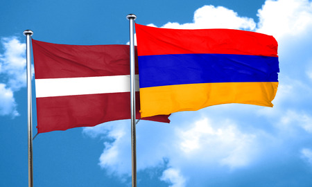 latvia flag: Latvia flag with Armenia flag, 3D rendering