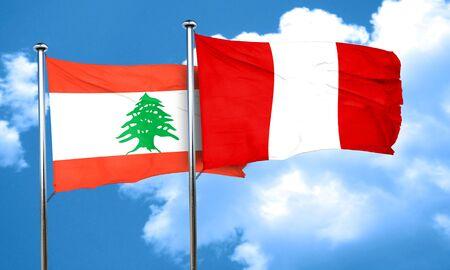 bandera de peru: bandera de Líbano con la bandera de Perú, 3D