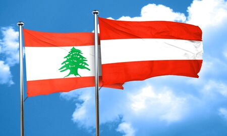 austria flag: Lebanon flag with Austria flag, 3D rendering