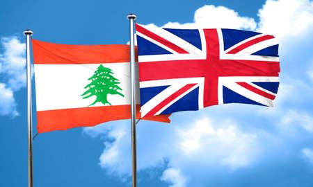 bandera de gran breta�a: Lebanon flag with Great Britain flag, 3D rendering Foto de archivo