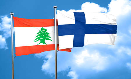 FINLAND flag: Lebanon flag with Finland flag, 3D rendering Stock Photo