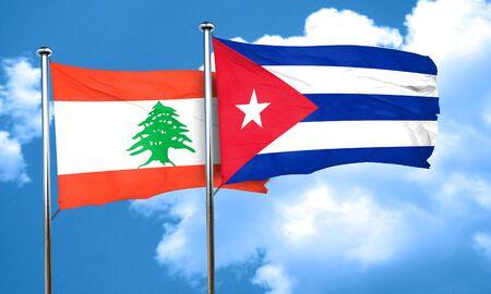 bandera cuba: bandera de L�bano con la bandera de Cuba, 3D