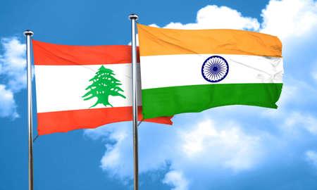 lebanon: Lebanon flag with India flag, 3D rendering