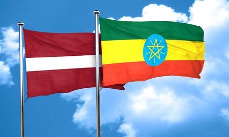 ethiopia flag: Latvia flag with Ethiopia flag, 3D rendering Stock Photo