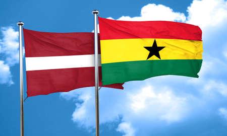 latvia flag: Latvia flag with Ghana flag, 3D rendering