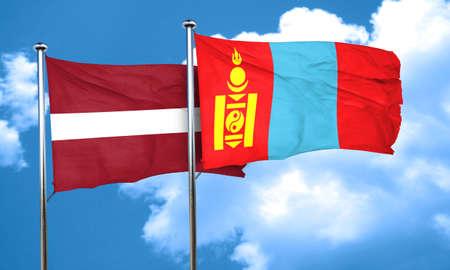 latvia flag: Latvia flag with Mongolia flag, 3D rendering