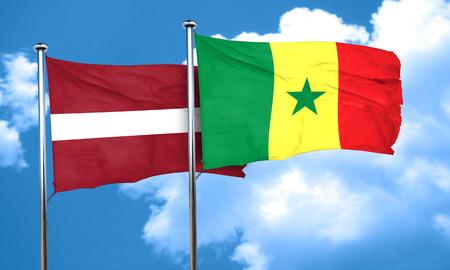 latvia flag: Latvia flag with Senegal flag, 3D rendering Stock Photo