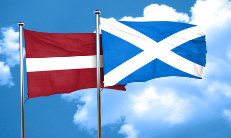 latvia: Latvia flag with Scotland flag, 3D rendering
