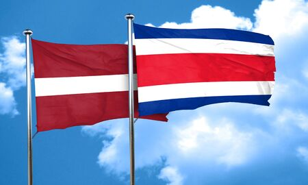 latvia flag: Latvia flag with Costa Rica flag, 3D rendering