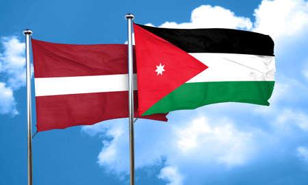 latvia flag: Latvia flag with Jordan flag, 3D rendering