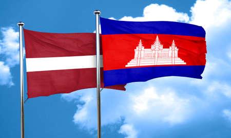 cambodia: Latvia flag with Cambodia flag, 3D rendering