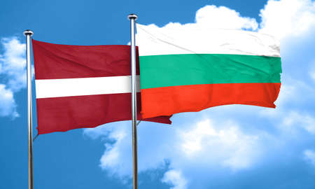 latvia flag: Latvia flag with Bulgaria flag, 3D rendering