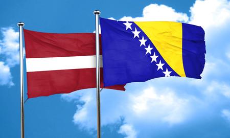 bosnia and  herzegovina: Latvia flag with Bosnia and Herzegovina flag, 3D rendering Stock Photo