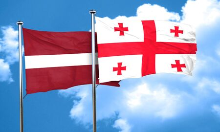 latvia flag: Latvia flag with Georgia flag, 3D rendering Stock Photo