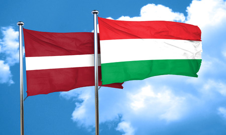 latvia flag: Latvia flag with Hungary flag, 3D rendering