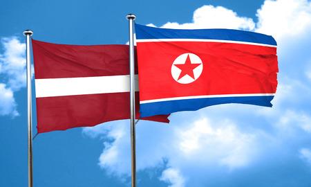 korea flag: Latvia flag with North Korea flag, 3D rendering