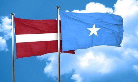 latvia flag: Latvia flag with Somalia flag, 3D rendering