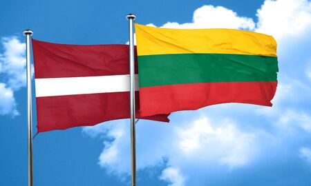lithuania: Latvia flag with Lithuania flag, 3D rendering
