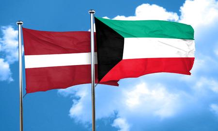 latvia flag: Latvia flag with Kuwait flag, 3D rendering