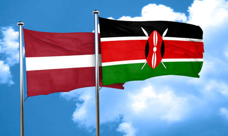 latvia: Latvia flag with Kenya flag, 3D rendering Stock Photo