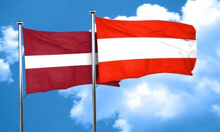 austria flag: Latvia flag with Austria flag, 3D rendering
