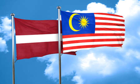 latvia flag: Latvia flag with Malaysia flag, 3D rendering Stock Photo