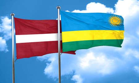 latvia flag: Latvia flag with rwanda flag, 3D rendering