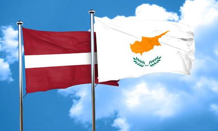 latvia flag: Latvia flag with Cyprus flag, 3D rendering