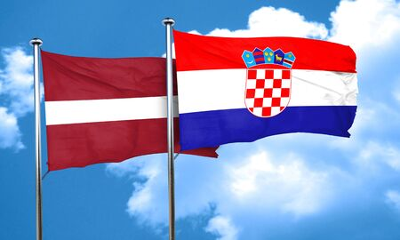 bandera croacia: bandera de Letonia con la bandera de Croacia, 3D