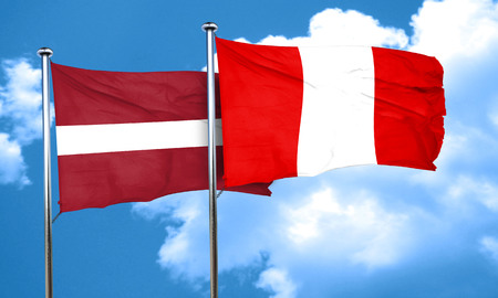 bandera peru: bandera de Letonia con la bandera de Per�, 3D Foto de archivo