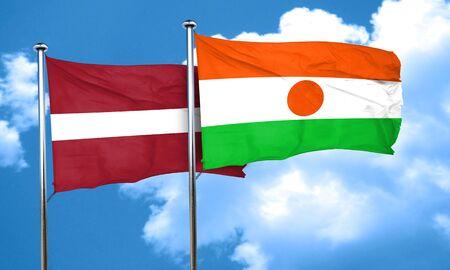 latvia flag: Latvia flag with Niger flag, 3D rendering
