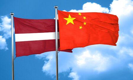 latvia flag: Latvia flag with China flag, 3D rendering